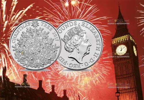 Англия монета 5 фунтов Рождественская елка