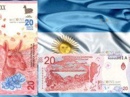 Аргентина банкнота 20 песо с гуанако