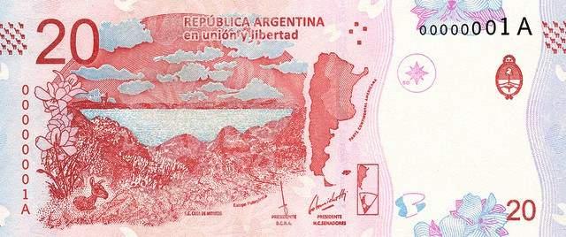 Аргентина банкнота 20 песо с гуанако, лицевая сторона