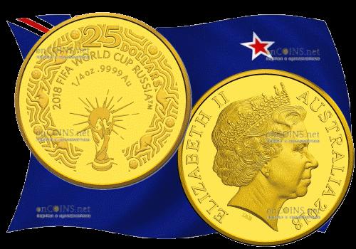 Австралия монета 1 доллар чемпионат Мира по Футболу 2018, золото