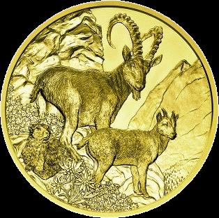 Австрия монета 100 евро Альпийский козерог, реверс