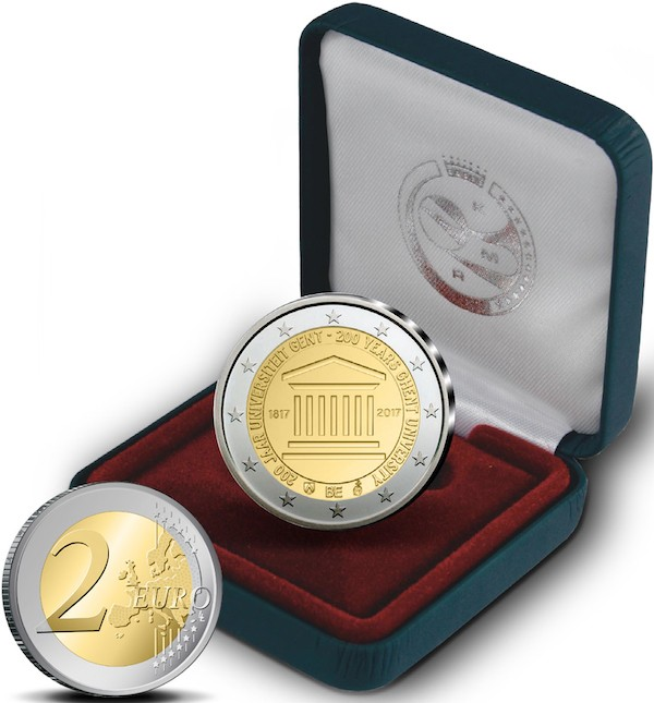 Бельгия монета 2 евро Университет Гента, подарочная упаковка