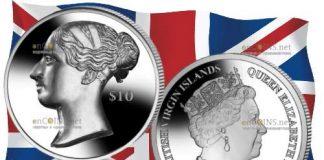 Британские Виргинские монета 10 долларов королева Виктория