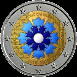 Франции монета 2 евро 100 лет окончания 1-й Мировой войны, реверс в цвете