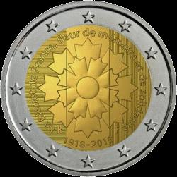 Франции монета 2 евро 100 лет окончания 1-й Мировой войны