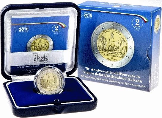 Италия монета 2 евро Конституция Италии, подарочная упаковка
