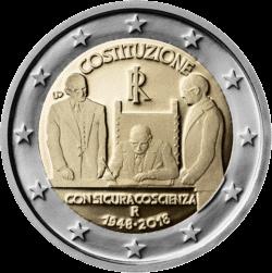 монета 2 евро Конституция Италии, реверс