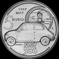 Италия монета 5 евро Fiat 500, аверс
