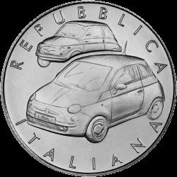 Италия монета 5 евро Fiat 500, реверс