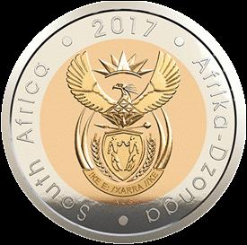 ЮАР выпускает в обращение памятную монету 5 рандов Орден сподвижников Тамбо, аверс