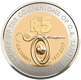 ЮАР выпускает в обращение памятную монету 5 рандов Орден сподвижников Тамбо, реверс