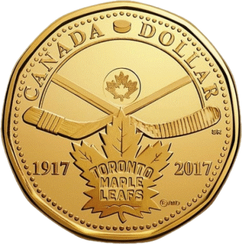 Канада монета 1 доллар 100 лет Торонто Мейпл Лифс, реверс