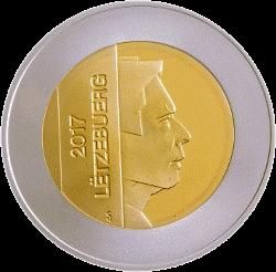 Люксембург монета 5 евро Европейская лесная лягушка, аверс
