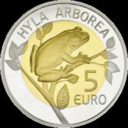 Люксембург монета 5 евро Европейская лесная лягушка, реверс