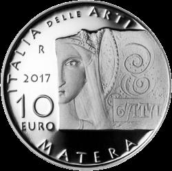 монета 10 евро город Матера, реверс