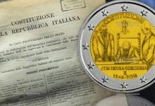 монета 2 евро Конституция Италии