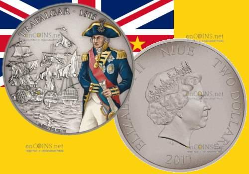 Ниуэ монета 2 доллара Трафальгарская битва