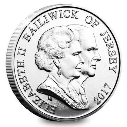 Нормандские острова монета 5 фунтов 70 лет бракосочетания, аверс