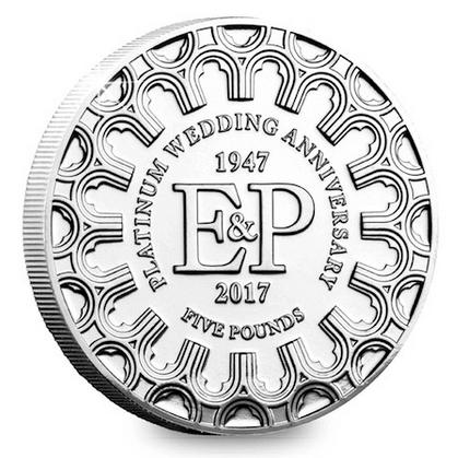 Нормандские острова монета 5 фунтов 70 лет бракосочетания, реверс