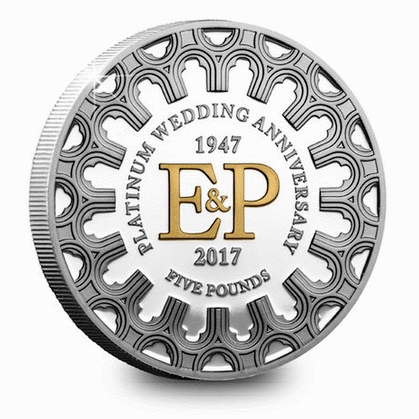 Нормандские острова монета 5 фунтов 70 лет бракосочетания, серебро, Proof, реверс