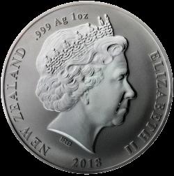 Новая Зеландия монета 1 доллар Киви, аверс, серебро