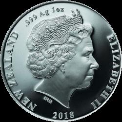 Новая Зеландия монета 1 доллар Киви цвет, аверс, серебро