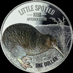 Новая Зеландия монета 1 доллар Киви цвет, реверс, серебро