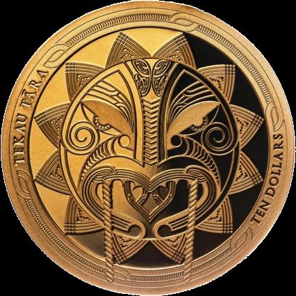 Новая Зеландия монета 10 долларов Мауи солнце, реверс