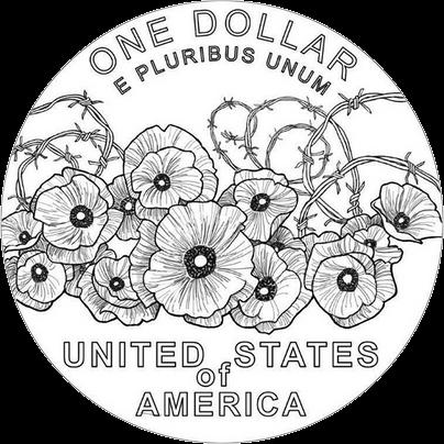 США монета 1 доллар 100 лет Первой мировой войны, маки, серебро, 2018