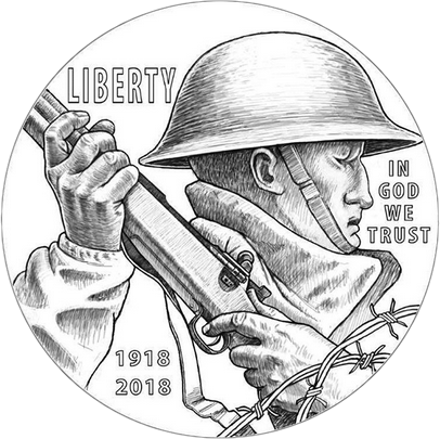 США монета 1 доллар 100 лет Первой мировой войны, солдат, серебро, 2018