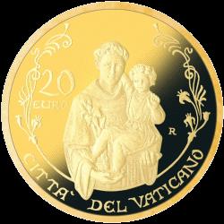 Ватикан монета 20 евро Папская Базилика Сан-Антонио-де-Падова, золото, аверс