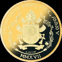 Ватикан монета 20 евро Папская Базилика Сан-Антонио-де-Падова, золото, реверс