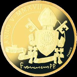 Ватикан монета 50 евро Папская Базилика Сан-Антонио-де-Падова, золото, реверс
