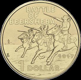 Австралия монета 1 доллар 100-летие битвы при Беэр-Шеве, реверс