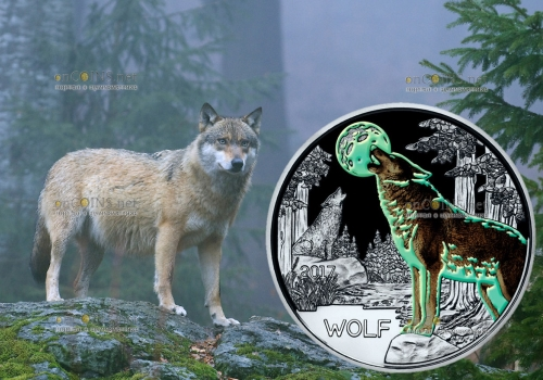 Австрии монета 3 евро Волк