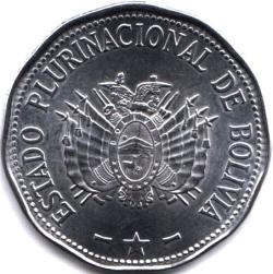 Боливия монета 2 боливиано, аверс