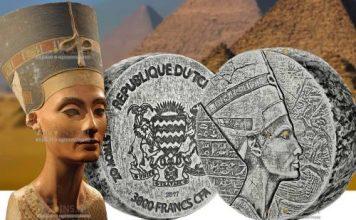 Чад монета 3000 франков КФА царица Нефертити