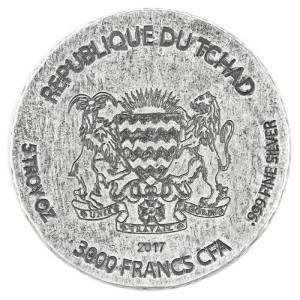 Чад монета 3000 франков КФА царица Нефертити, аверс