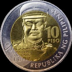 Филиппины монета 10 песо Антонио Луна, аверс