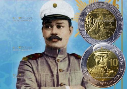 Филиппины монета 10 песо Антонио Луна