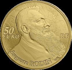 Франции выпустят монету 50 евро Огюст Роден, реверс