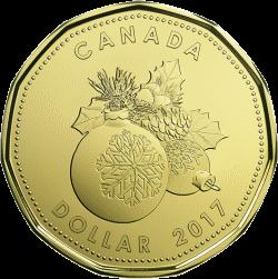 Канада монета 1 доллар Рождественские подарки 2017, реверс