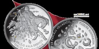 Латвия 5 евро небесный кузнец Пээркуоне