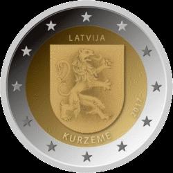 Латвия монета 2 евро Курземе, реверс