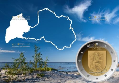 Латвия монета 2 евро Курземе