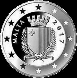 Мальта монета 10 евро 70 лет Конституции Мальты, аверс