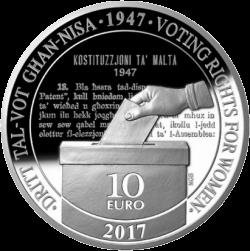 Мальта монета 10 евро 70 лет Конституции Мальты, реверс