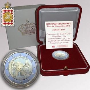 Монако 2 евро 200 лет Компании карабинеров принца, подарочная упаковка