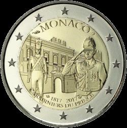Монако 2 евро 200 лет Компании карабинеров принца, реверс