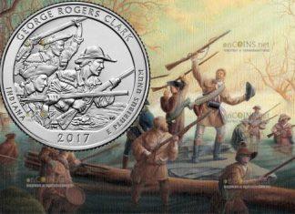 США монета четверть доллара Парк Джордж Роджерс Кларк